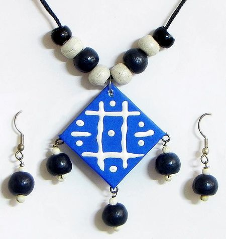 Hand Painted Blue Square Paper Pendant and Earrings with Wooden Beads