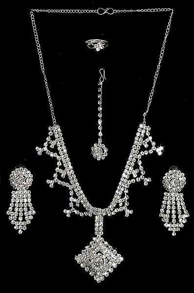 White Stone Studded Necklace Set with Mang Tika and Ring