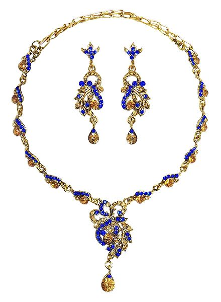 Blue with Chrome Yellow Stone Studded Necklace and Earrings