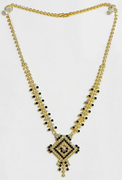 Gold Plated and Black Stone Studded Necklace with Pendant