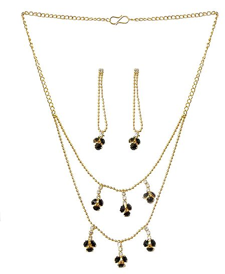Black Stone Studded Two Layer Golden Necklace and Earrings