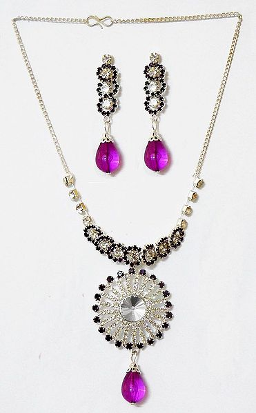 Black and White Stone Studded Necklace with Earrings