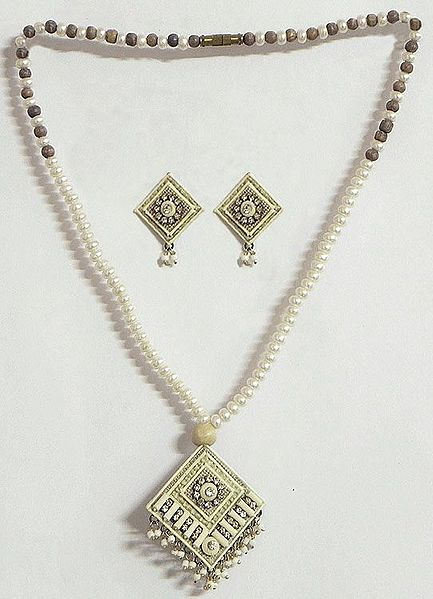 White Faux Pearl and Wooden Bead Necklace with Jute Pendant and Earrings