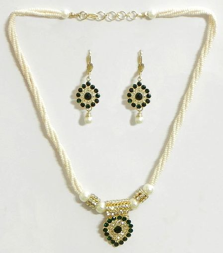 White Bead Necklace with Green Stone Studded Pendant and Earrings