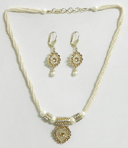 White Bead Necklace with Rust Color Stone Studded Pendant and Earrings