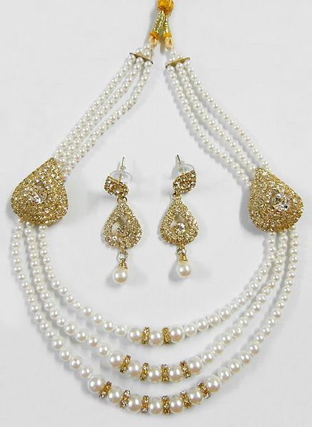 Three Layer Faux Pearl Bead Necklace with White Stone Studded Earrings