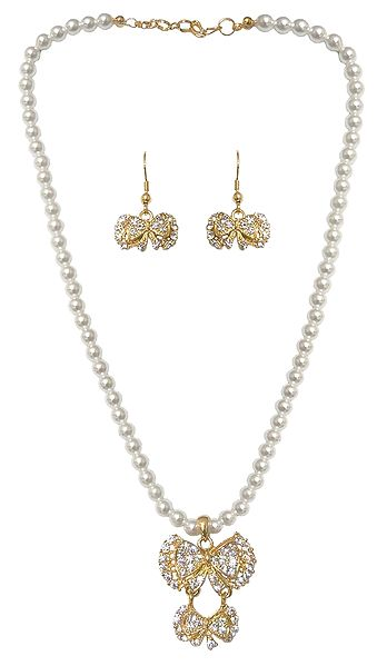 Faux Pearl Necklace with Gold Plated and Stone Studded Earrings