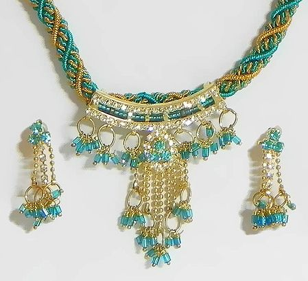 Cyan and Yellow Twisted Cord Necklace with Stone Studded Pendant