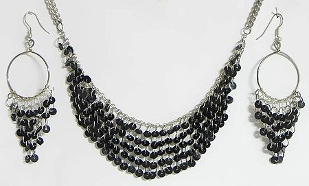 Black Sequined Jhalar Necklace with Earrings