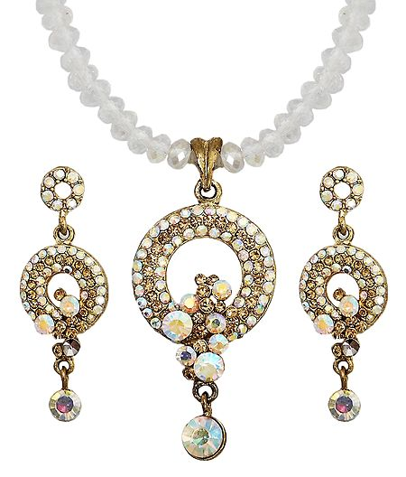 Stone Studded Pendant with Crystal and Earrings