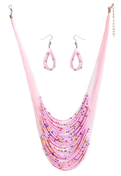 Pink Bead Necklace and Earrings