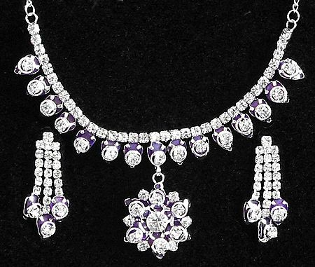 Purple and White Stone Studded Necklace and Earrings