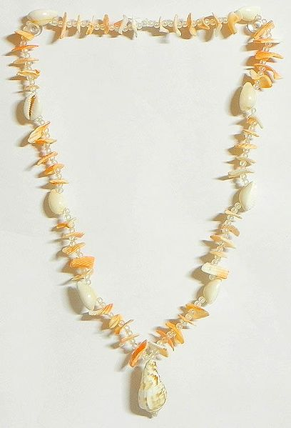 Painted Shell Necklace in Yellow