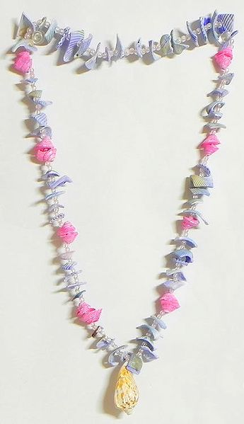 Painted Shell Necklace in Mauve and Pink