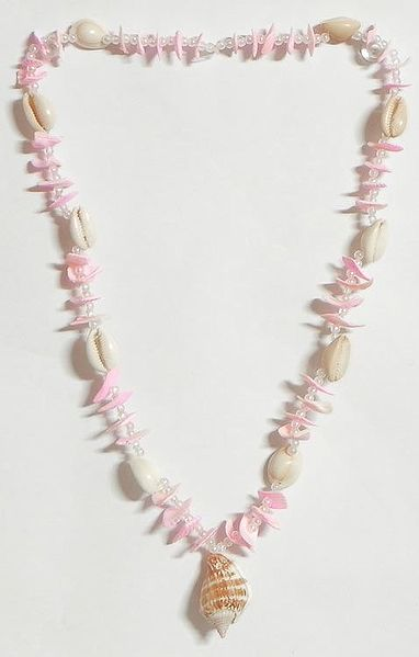 Painted Shell Necklace in Light Pink with White Cowrie