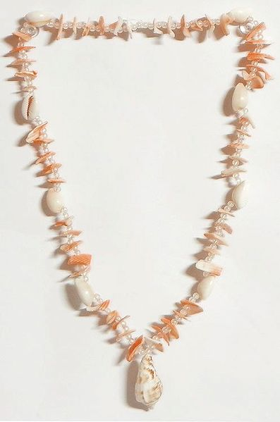 Painted Shell Necklace in Light Brown with White Cowrie