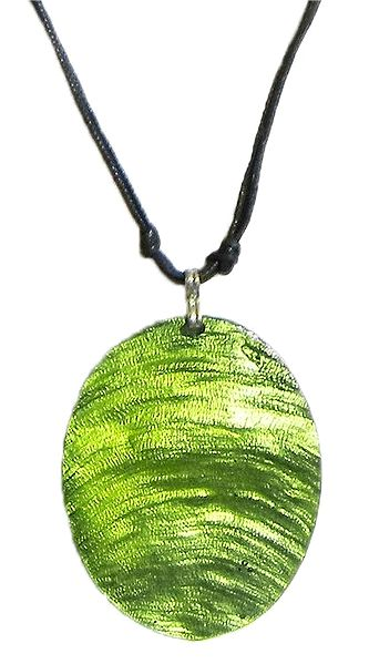 Green Lacquered Shell Pendant