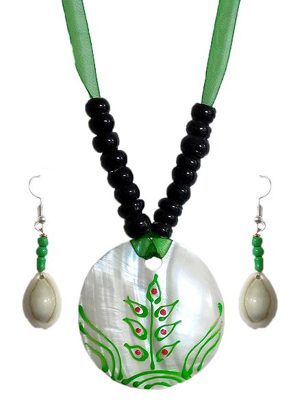Black Bead Necklace with Painted Shell Pendant and Adjustable Green Ribbon