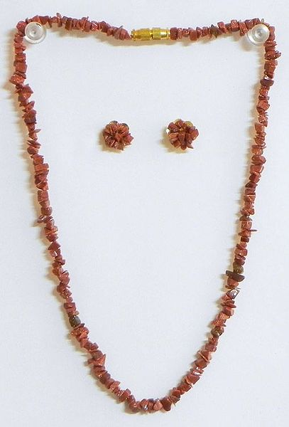 Brown Stone Bead Necklace  and Earrings