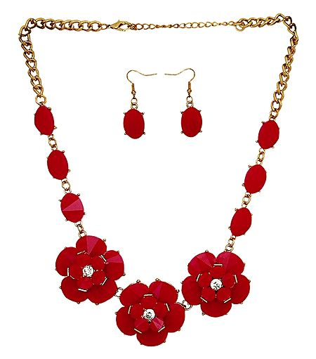 Red Stone Studded Necklace and Earrings