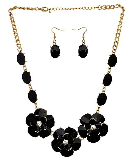 Black Stone Studded Necklace and Earrings