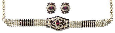 Faux Zirconia and Garnet Studded Choker and Earrings