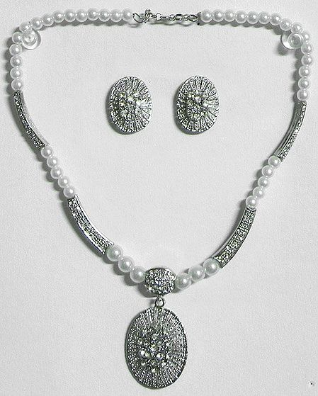 White Stone Studded Party Necklace with Earrings