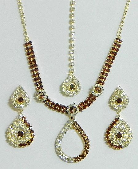 Maroon and White Stone Studded  Necklace with Earrings and Mang Tika