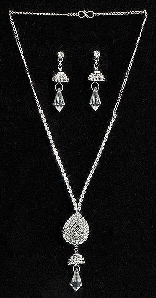 White Stone Studded Necklace Set