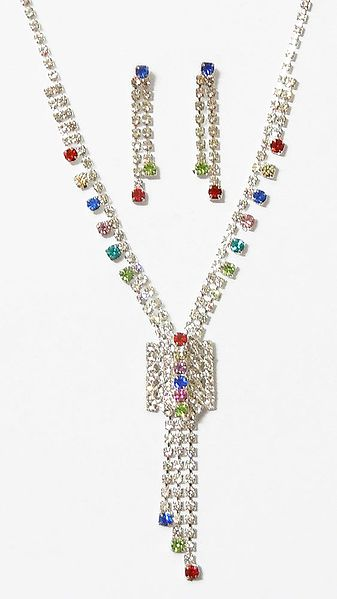 White with Multicolor Stone Studded Necklace Set with Earrings