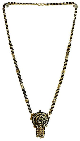 Gold Plated and Black Stone Studded Mangalsutra with Pendant