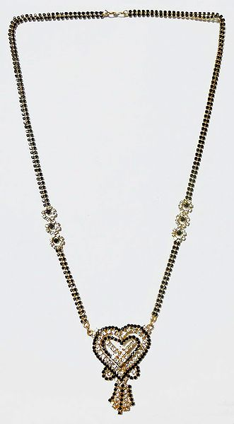 Gold Plated and Faux Zirconia and Black Onyx Studded Mangalsutra with Heart Shaped Pendant