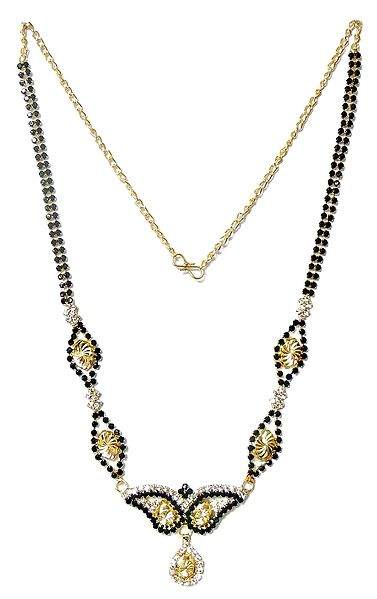Black and White Stone Studded Mangalsutra