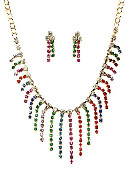 Multicolor Stone Studded Necklace and Earrings