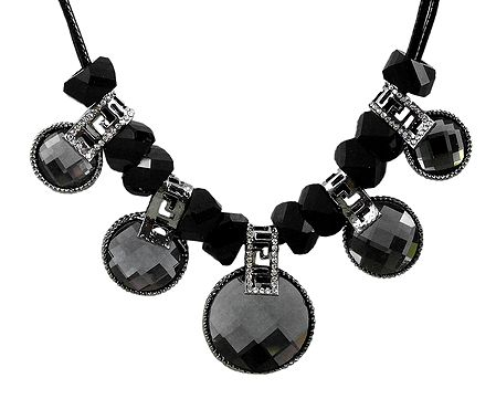 Faux Onyx Stone Studded Necklace