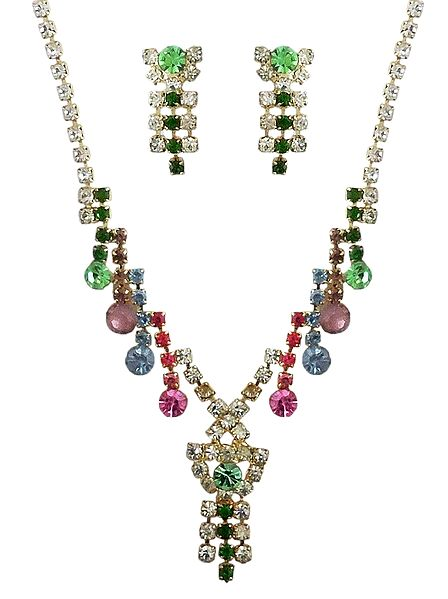 Multicolor Stone Studded Necklace with Earrings