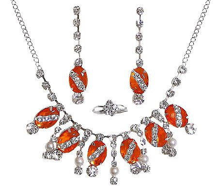 Dark Saffron and White Stone Studded Necklace with Earrings and Ring