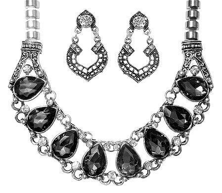 Faux Zirconia Studded Necklace and Earrings
