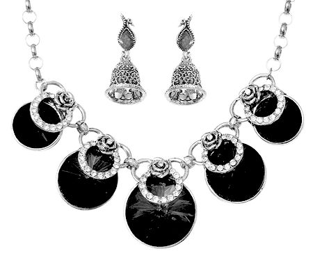 Faux Onyx Studded Necklace and Earrings