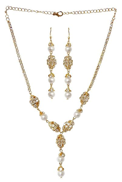 White Stone Studded and Gold Plated Necklace and Earrings