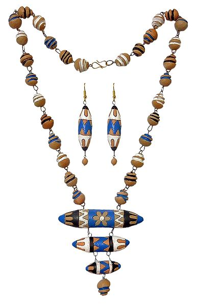 Hand Painted Terracotta Bead Necklace and Earrings