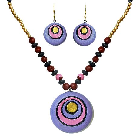 Hand Painted Mauve with Pink Terracotta Necklace with Disc Pendant and Earrings