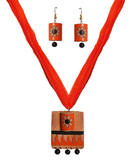 Terracotta Necklace with Round Pendant and Earrings