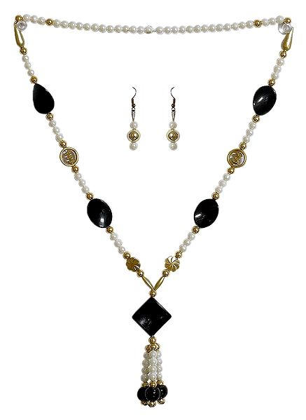 Black and White Acrylic Bead Necklace and Earrings