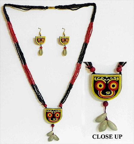 Hand Painted Jagannath Dev on Terracotta Pendant and Earrings with Wooden Bead Necklace