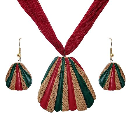 Terracotta Triangle Pendant and Earrings