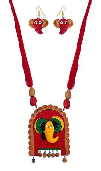 Terracotta Necklace with Ganesha Pendant and Earrings