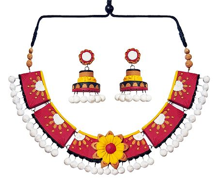 Hand Painted Red with White Terracotta Necklace and Earrings