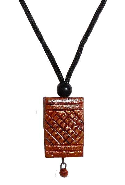 Terracotta Pendant with Black Cord