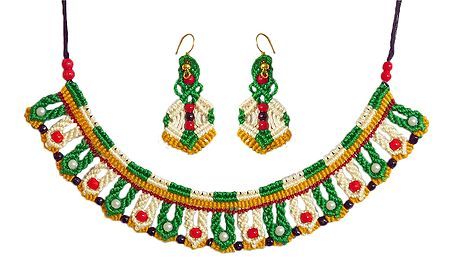 Green with White Macrame Thread Necklace and Earrings with Red and White Beads